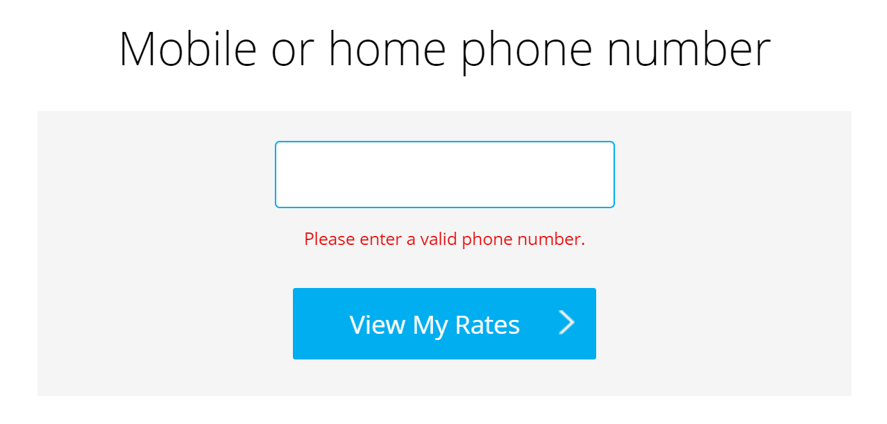 phone number entry page