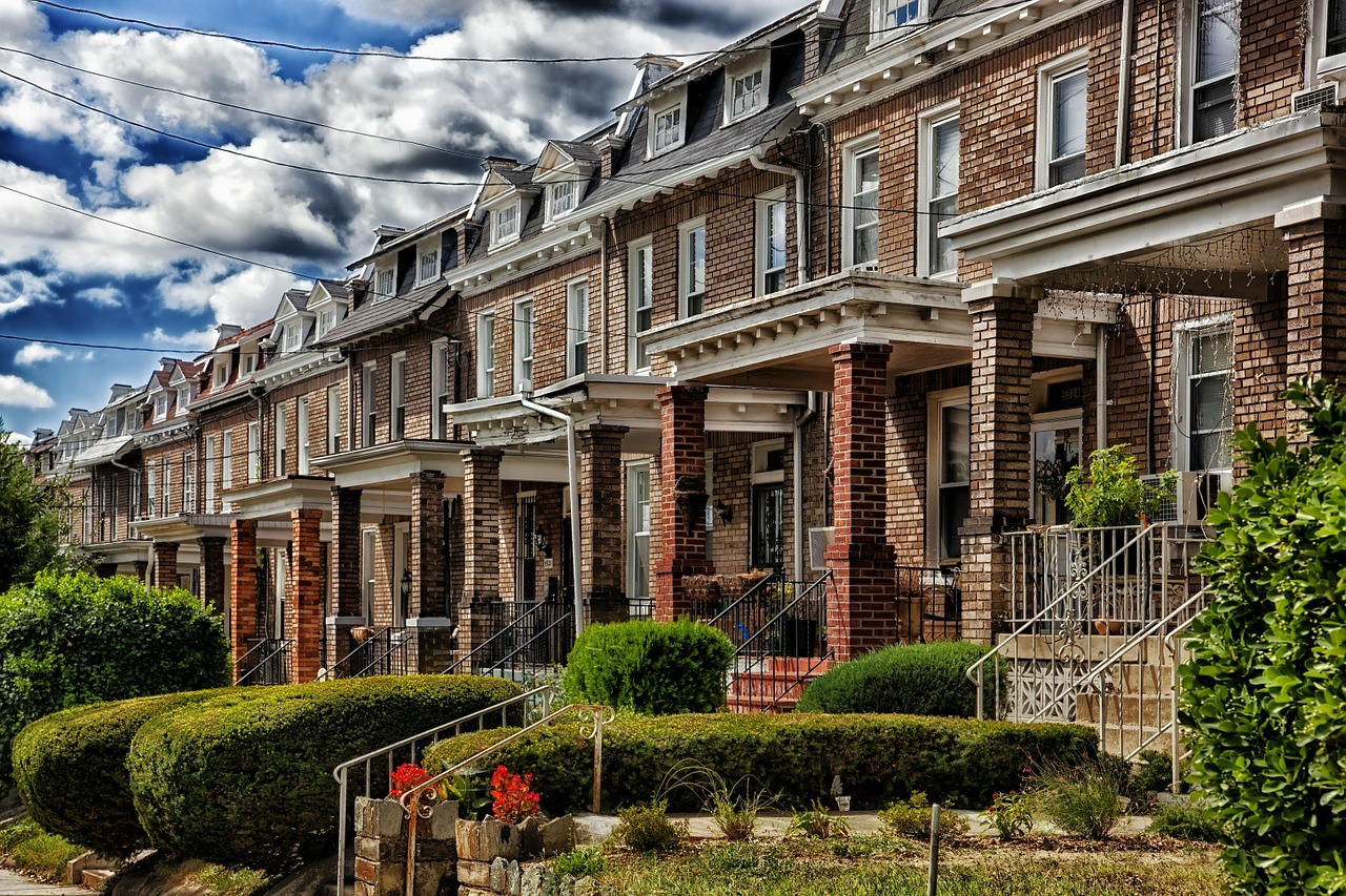 solid red brick row homes