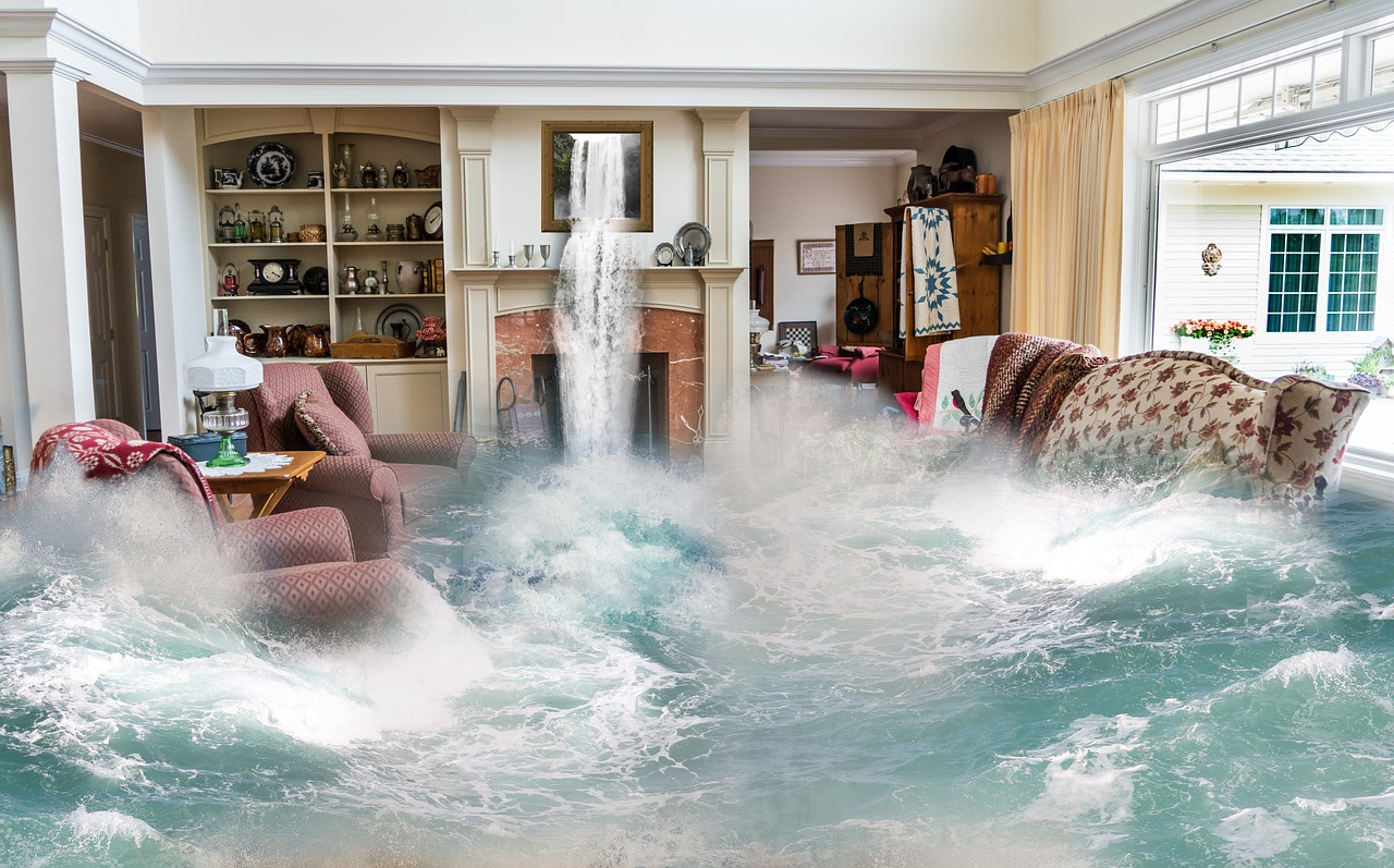 waterfall flooding into living room
