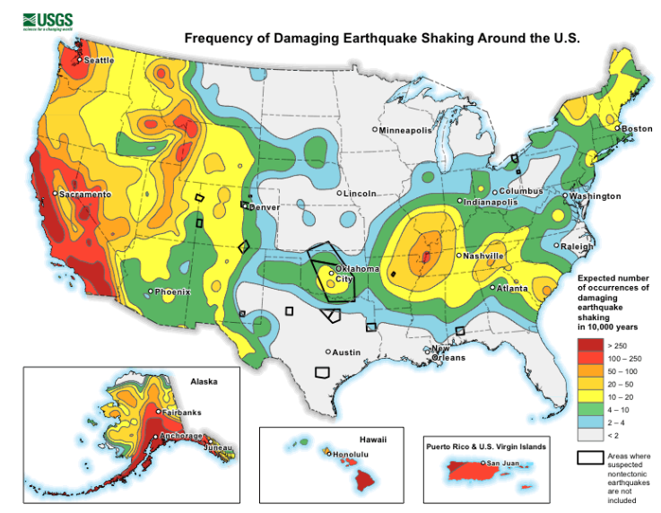 earthquake risk and frequency map of US