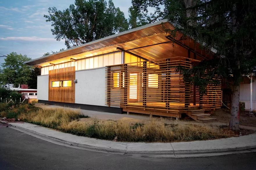 mobile home with wooden siding