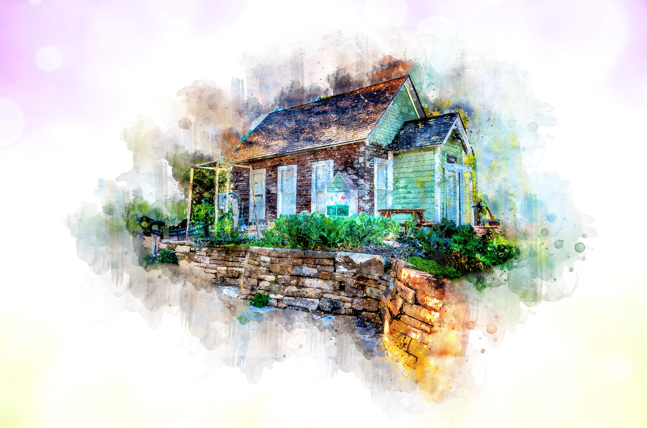 colorful water painting of house